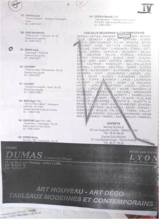 côte tableau Lyon Dumas
