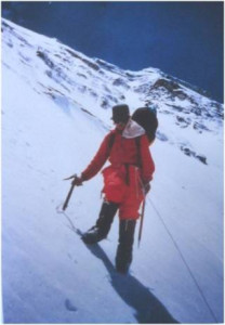 descending from the bivouac at 7600m