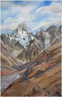 frontière Pamir aquarelle